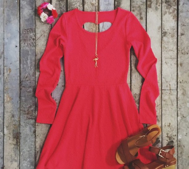 dress coral crush heart cut out on back k