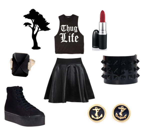 mac cosmetics lipstick black top quote on it black skirt leather skirt black sneakers jewels all black everything