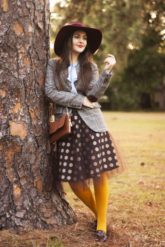 carly maddox blogger blouse jacket bag tights tulle skirt burgundy felt hat polka dots loafers mustard