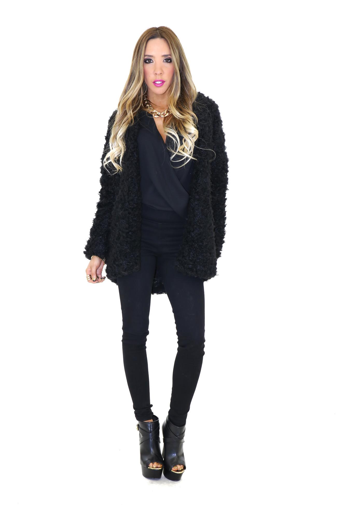 Angle faux sheep fur jacket