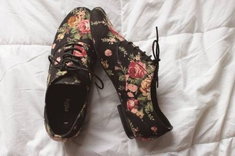 shoes black flowers roses