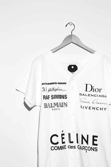 t-shirt celine chanel black brand names white black letters dior