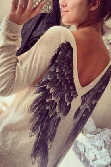 feathers blouse sweater awesome wings victoria's secret angel shirt girly