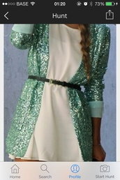jacket,dress,shoes,turquoise,glitter blazer,sequenced blazer,long length,coat,white dress,sequins,blazer,cute,teal,cardigan,sequence,glitter,green,belt,mint