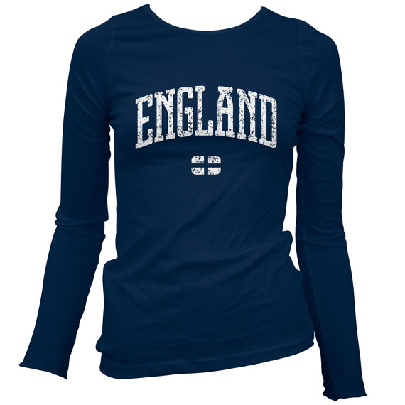 Women's England LS Tshirt  Long Sleeve Ladies Tee  by smashtransit