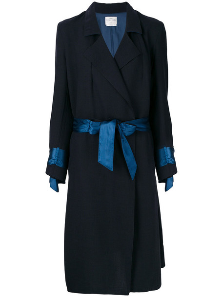 coat women embellished blue wool