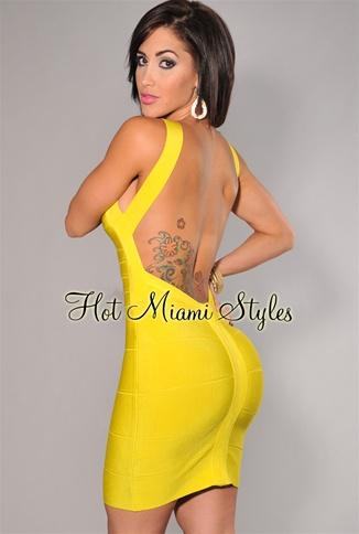 Yellow Plunging Back Silky Bandage Dress