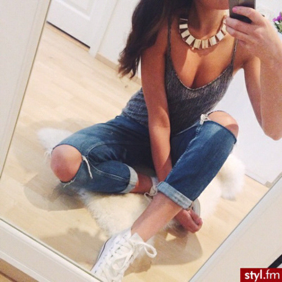 grey top jeans ripped jeans jewels