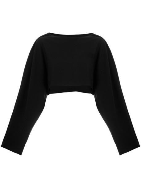 Société Anonyme kimono top cropped women black wool