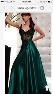 dress,forest green,prom dress,silk