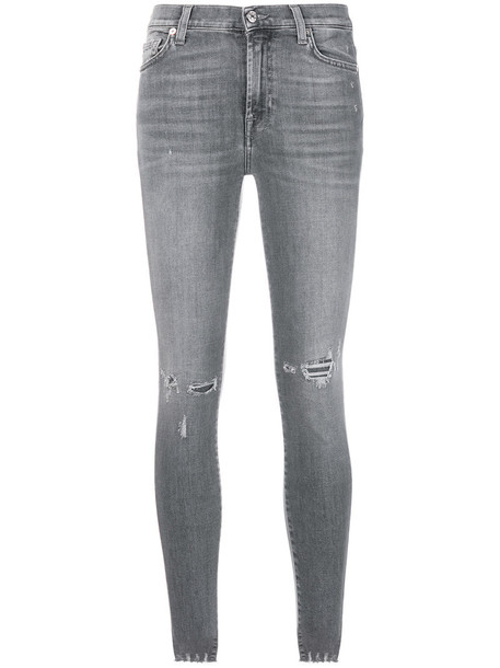 7 For All Mankind jeans skinny jeans women spandex cotton grey