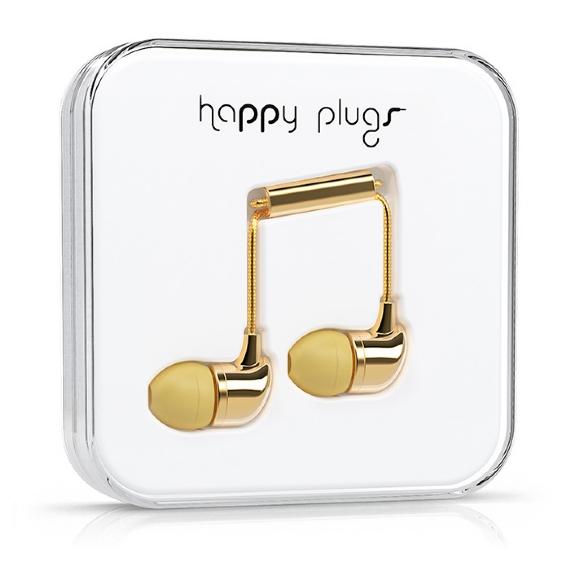 Gold headphones from happy plugs