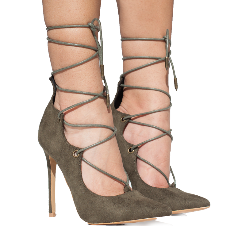 ALAIAH Lace Up Pump in Olive at FLYJANE