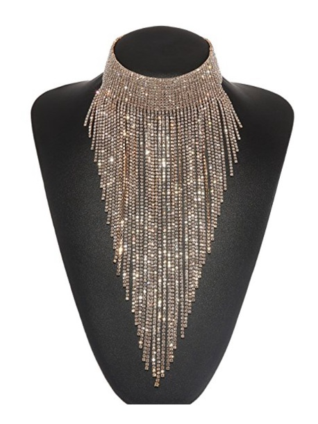 jewels necklace fringe necklace bib runway necklace gold jewelry
