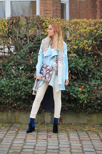 from brussels with love blogger coat scarf bag pants shoes blue jacket ankle boots winter outfits clutch