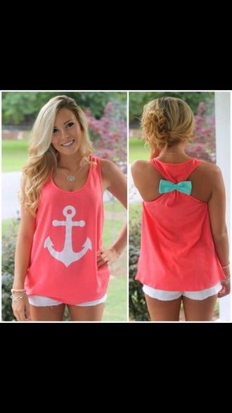 shirt pink skirt tank top blue bow