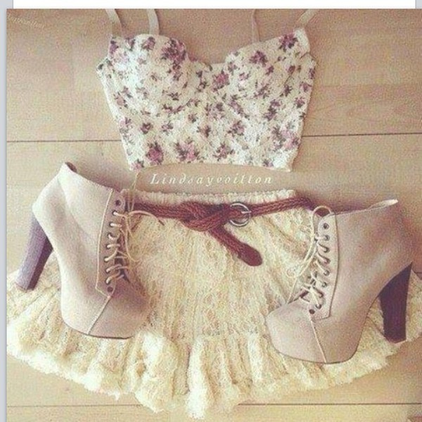 top heels lace clothes skirt floral shoes
