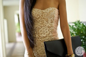 dress,lace dress,pink,pink dress,lace,white,strapless,front,black purse,jewelry,clothes,most beautiful dress ever,laced dress,beige,beautiful,clutch,classy,bracelets,girly,floral,gold dress