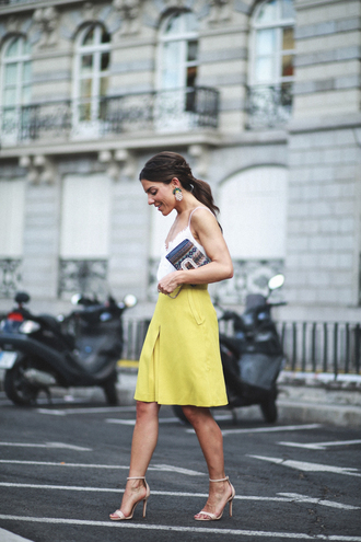 skirt tumblr midi skirt yellow yellow skirt sandals sandal heels high heel sandals top camisole white top bag shoes