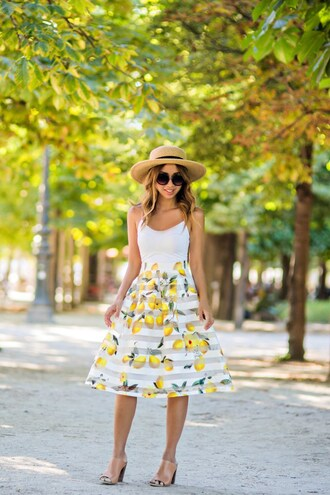 lace and locks blogger tank top straw hat white dress yellow dress mini dress nude heels thick heel