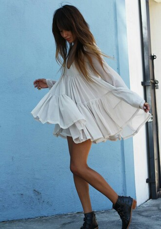 dress top chiffon tule light flowing white see through translucent long sleeves