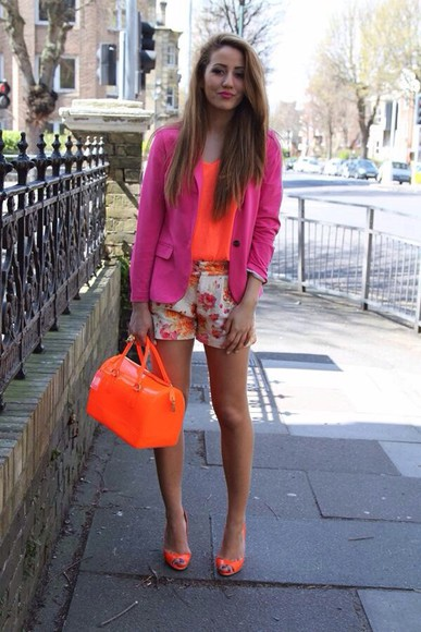 shorts blazer jacket high heels tank top pink high heels high waisted short l.a. neon style fashion crop tops white lace shorts shirt, shorts, lace, bows, white, bag, japanese, korean, tights, thigh highs,