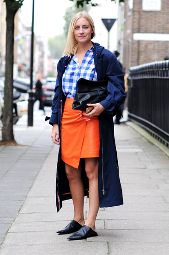 skirt fashion week street style fashion week 2016 fashion week london fashion week 2016 orange skirt asymmetrical asymmetrical skirt wrap skirt shirt blue shirt checkered checkered shirt coat blue coat black babouches babouches bag black bag streetstyle fall outfits