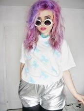 shorts,silver,unicorn,seapunk,melon lady,helen anderson,holographic,t-shirt,pastel hair