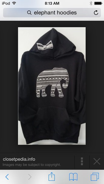 coat elephant pullover hoodie with pockets