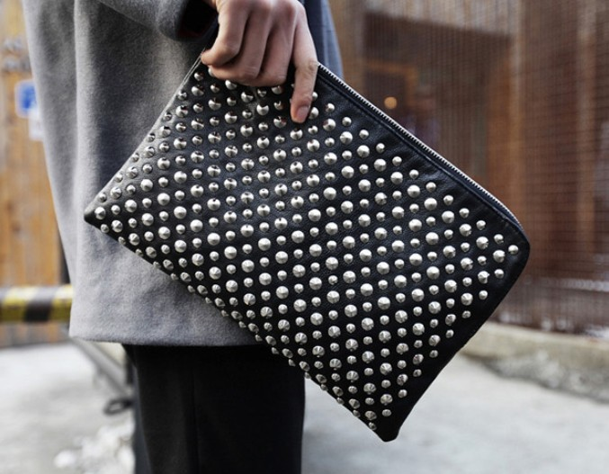 New Mens Women Stud Studs Studded Clutch Handbag Bag Purse Envelope Wallet Black | eBay