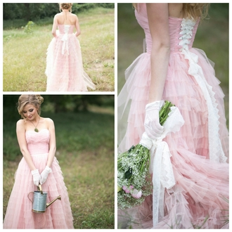 dress pink dress pink white corset back strapless tulle dress layers vintage dress
