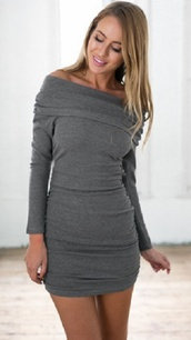 dress,fall outfits,off the shoulder,grey,mini