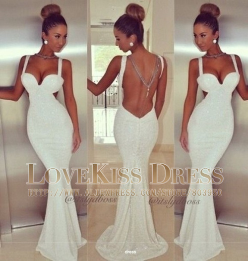 Aliexpress.com : Buy 2014 Vestido De Festa Sexy V Neck White Sequined Lace Slim Mermaid Long Prom Evening Dress Bride Gown DYQ1028 from Reliable dress mauve suppliers on Love Kiss Evening Dress and Wedding Dress Manufactory | Alibaba Group