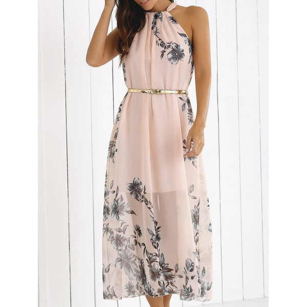Rosewholesale Blossom Print High Neck Chiffon Maxi Dress