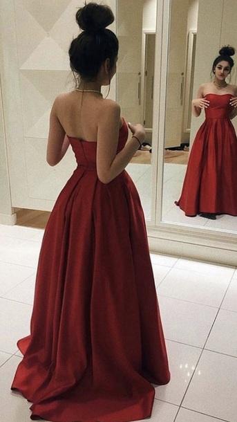 dress red dress strapless long.dress longreddress