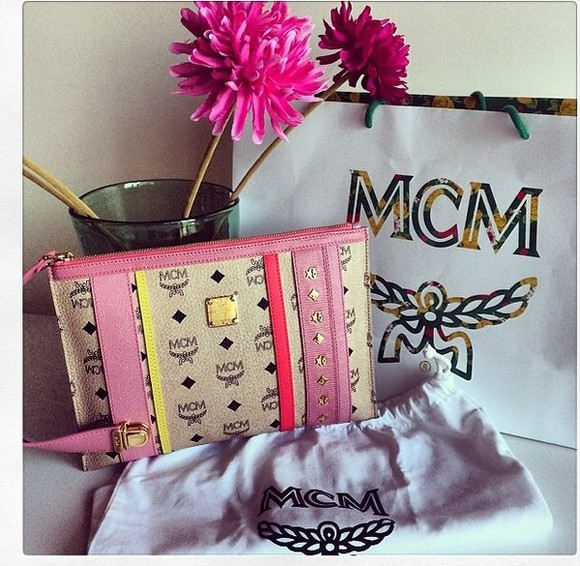 princess bag mcm pink clutch pouch