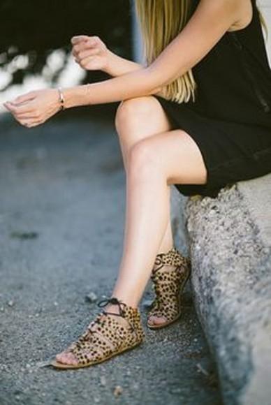 flats black flat sandals leopard print leopard print sandals Laces ankle sandals cute sandals