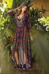 dress,print,paradizia,maxi dress,summer dress,printed dress,bikiniluxe