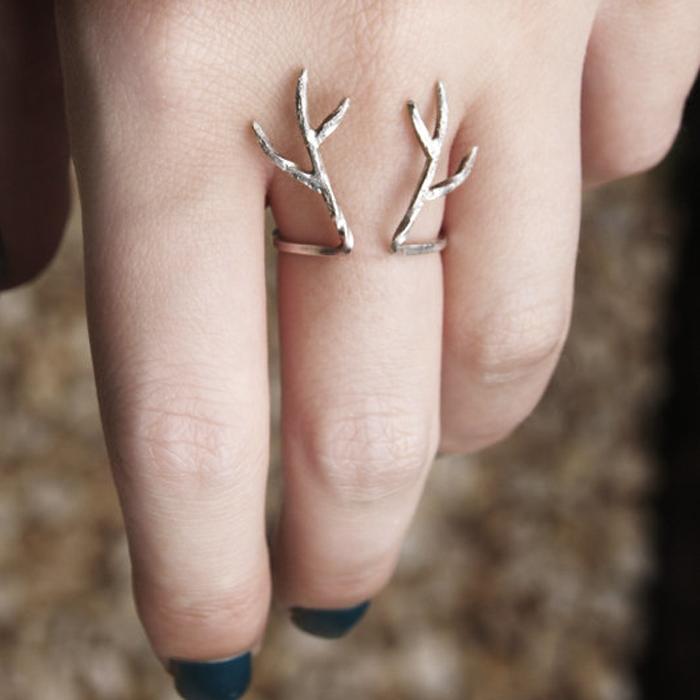Handmade 925 sterling silver deer antlers ring style a