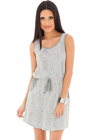 Sleeveless lace and jersey contrast shift dress