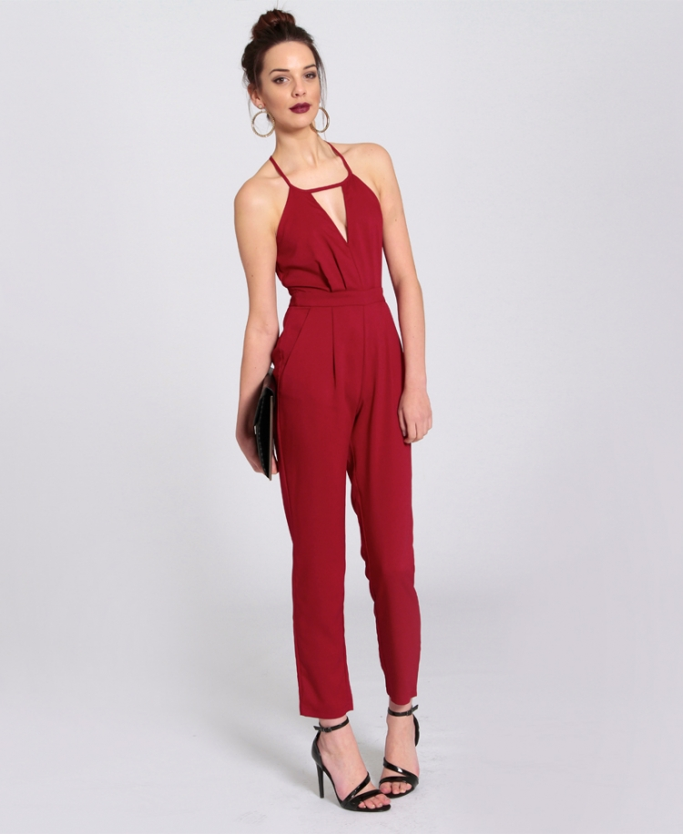 Red Fitted Halter Neck Strappy Jumpsuit. Elizabeth Red Fitted ...