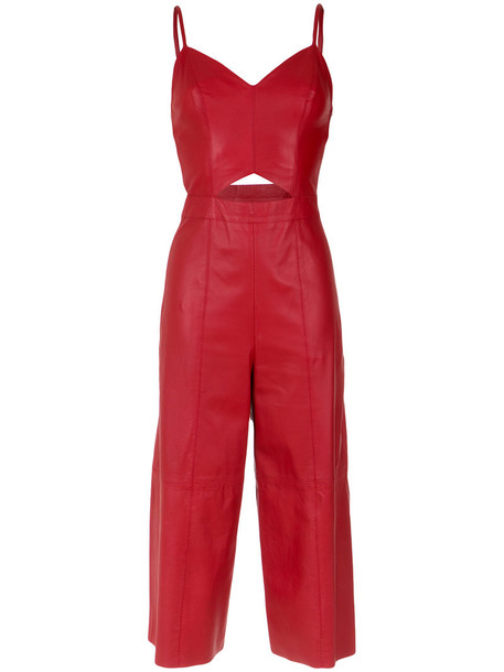 Nk - culotte jumpsuit - women - Leather - 34, Red, Leather