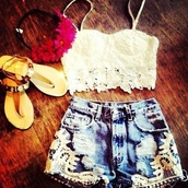 shirt,crop tops,bandeau,bralette,lace,shorts,High waisted shorts,floral,flower crown,headband,summer,hippie,hat,shoes,blouse,tank top,white,jewels,clothes,cream,acid wash,high waisted denim shorts,weheartit,crochet top,crochet bustier,bustier,lace top,white lace top,white crochet top,icifashion,ici fashion,white crochet,bag,crochet,denim,lace bralette,festival,brown,chestnut,boots,booties,lace up,ankle boots,combat boots,lovely,fa,t-shirt,white cute crop top,hair accessory,denim shorts,sandals,top,pants,jeans,dentelle,blanc,short,sandale,marron,mini,mini shorts,white too,white top,classy,sun,summer outfits,corset,cute,lace shorts,lacy