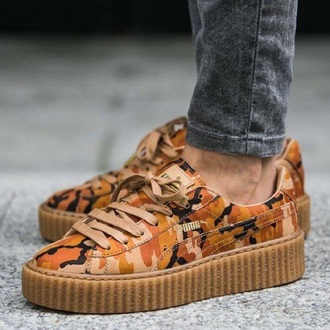 shoes sneakers puma sneakers camouflage puma puma x rihanna suede sneakers