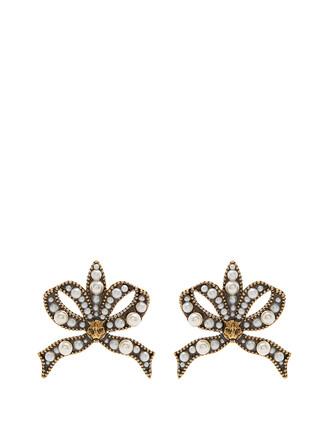 bow pearl embellished earrings jewels