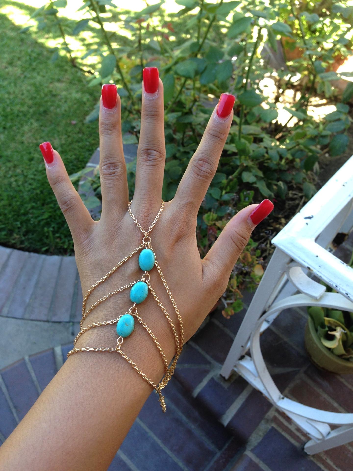 Turq Bead Ringcelet – Gold Soul
