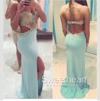 dress open back long dress prom dress mint blue dress open side dress