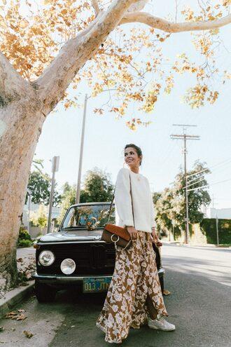 2016 | collage vintage blogger skirt shoulder bag maxi skirt white sweater sneakers floral skirt off-white sweater chloe bag designer bag boho chic