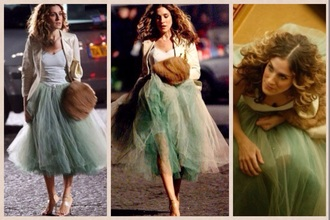 tulle skirt tulle dress tutu dress mini dress mini skirt green dress green skirt carrie bradshaw