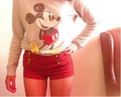 shirt,red,yellow,white,grey,black,disney,long sleeves,shorts,buttons,cute,mickey mouse,pants